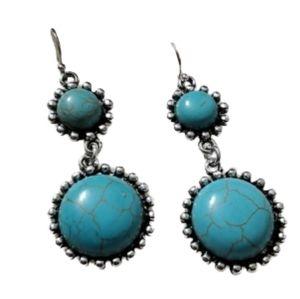 E0008 Turquoise Howlite & Silvertone Drop Earrings